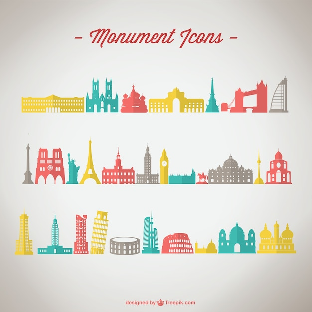 Monuments icons Free Vector