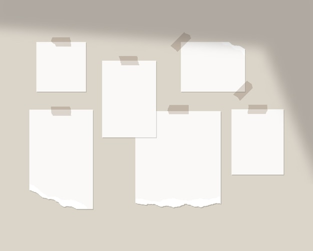 Mood board  template. empty sheets of white paper on the wall with shadow overlay.   isolated. template design. realistic  illustration. Premium Vector