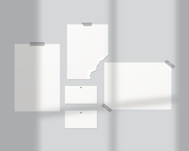Mood boards . empty sheets of white paper on the wall. mood boards with shadow overlay.   . template design. realistic vector illustration. Premium Vector