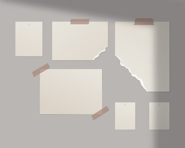 Moodboard   template. empty sheets of white paper on the wall.   template design. realistic   illustration. Premium Vector