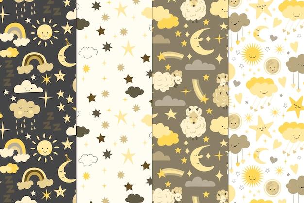 月と太陽のパターンコレクション 無料ベクター
