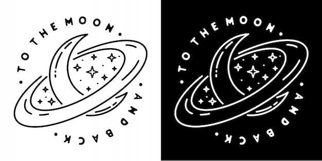 To the moon and back badge design Premium Vector