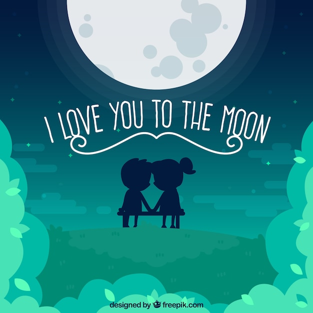Moon Background With Cute Couple And Romantic Message Free Vector