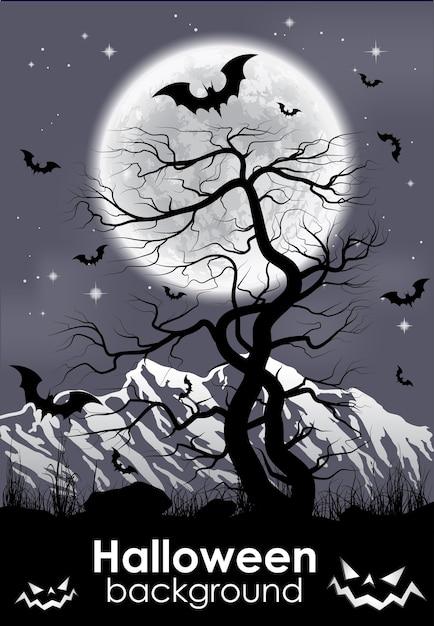 山、古い木、黒いコウモリと月の背景 Premiumベクター