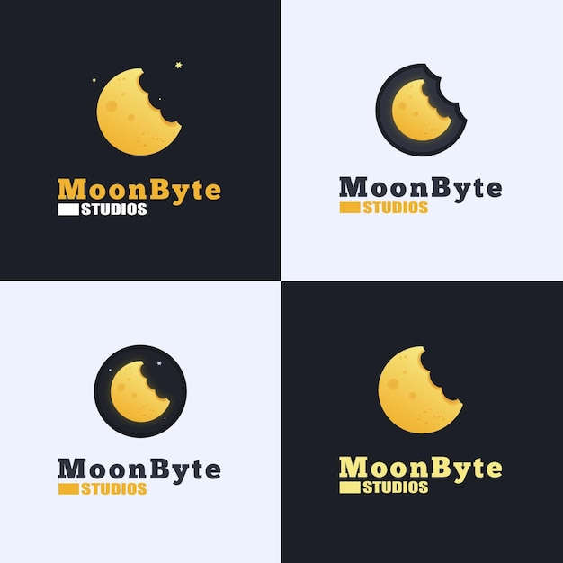 Moon byte logo design Premium Vector