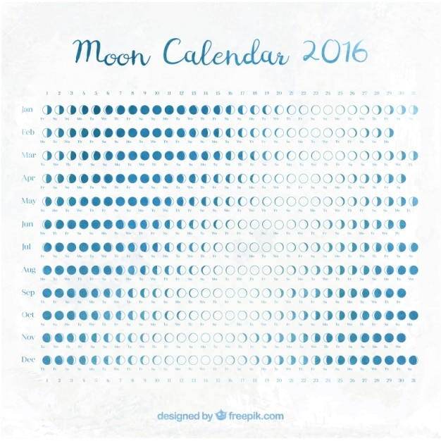 Moon calendar 2016 in blue color