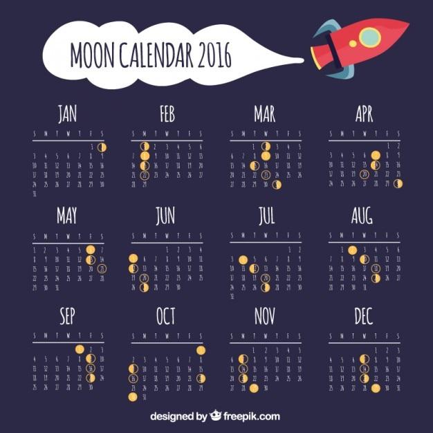 Moon calendar with space ship Premium Vector
