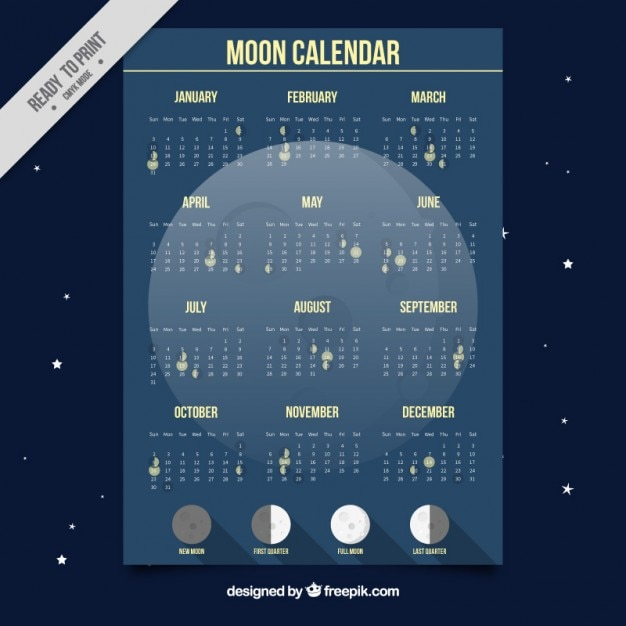Moon calendar 2019 southern hemisphere royalty free vector.