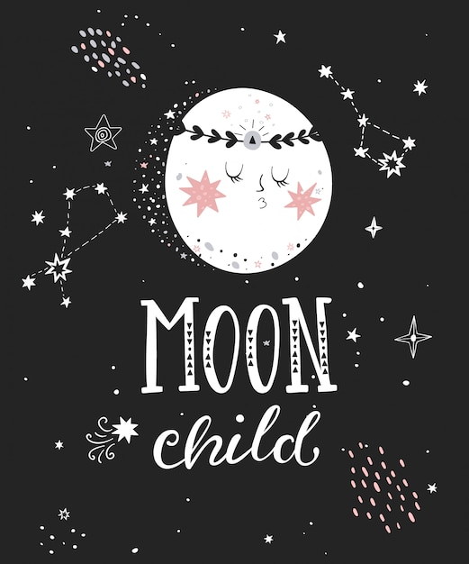 Moon child poster with hand drawn lettering Premium Vector