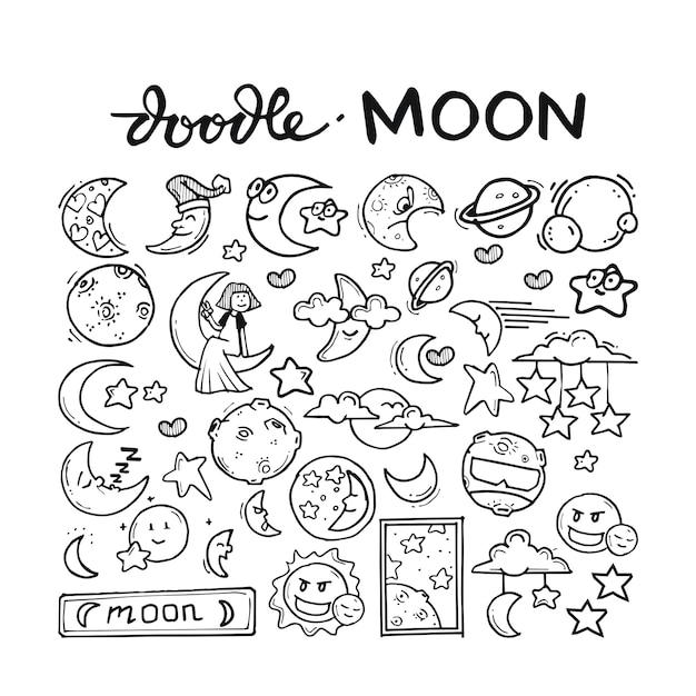 Moon doodle hand drawn Premium Vector