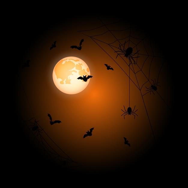Moon halloween orange background Premium Vector