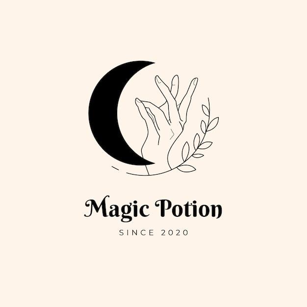 Moon and hand magic logo Premium Vector