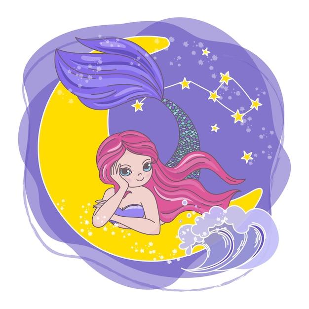 Moon mermaid space cartoon princess Premium Vector