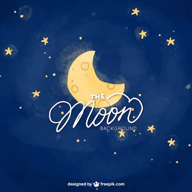moon night sky and watercolor stars background vector