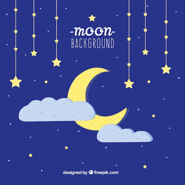 Moon night sky background with stars and clouds Free Vector