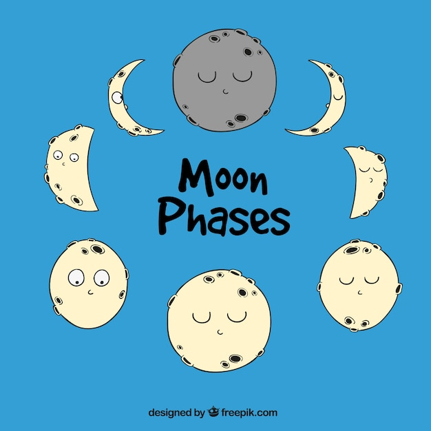 Moon phases in hand-drawn style Free Vector