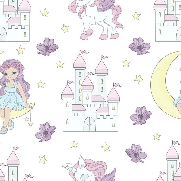 Moon princess fairy tale seamless pattern Premium Vector