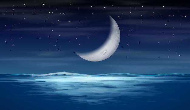 A moon on sky Premium Vector