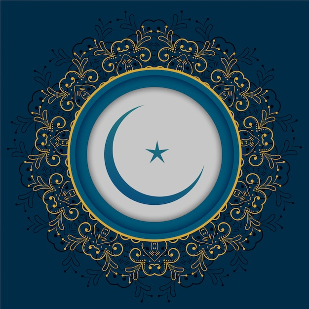 Moon and star islamic design Free Vector