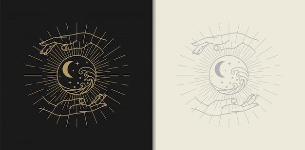 Луна, звезда, волна и рука золотой логотип, духовное руководство для чтения таро красочный дизайн градиента. иллюстрация. Premium векторы