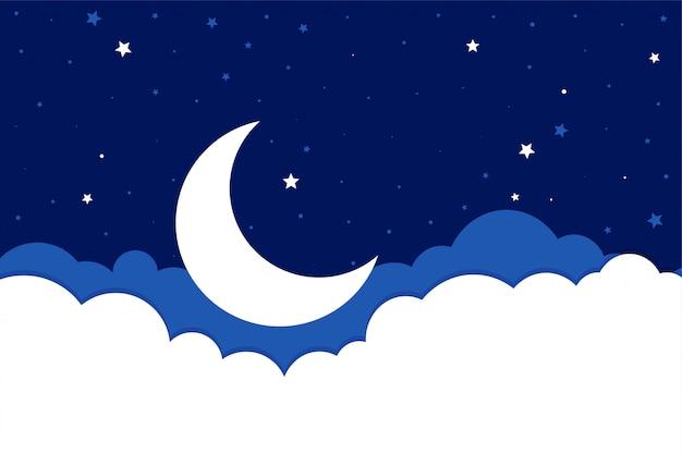 플랫 스타일의 달 별과 구름 배경 무료 벡터