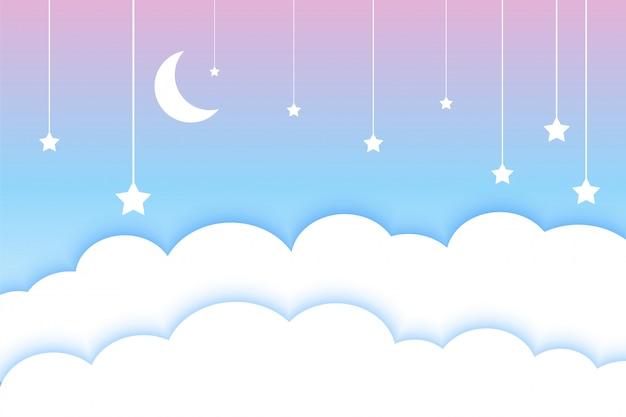 달 별과 구름 다채로운 papercut 스타일 배경 무료 벡터