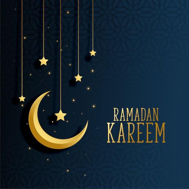Moon and stars ramadan kareem background Free Vector