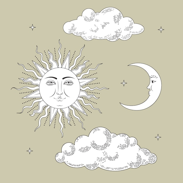 Moon and sun collection Premium Vector