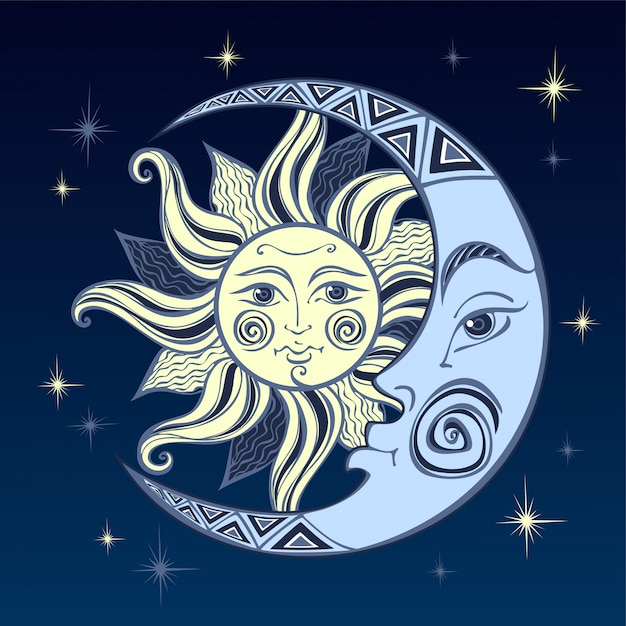 The moon and the sun Premium Vector