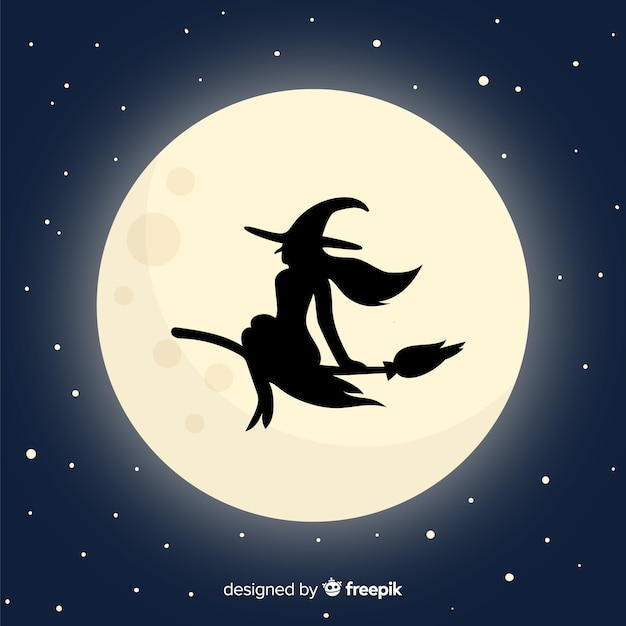 Moon and witch background Free Vector