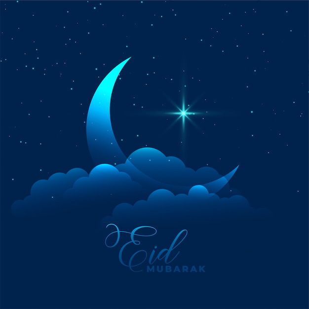 Moon with cloud and star eid mubarak background Free Vector