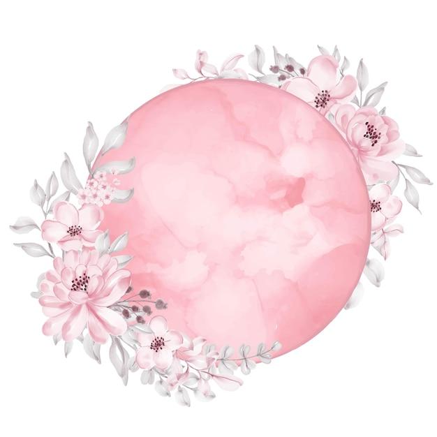 花と月水彩鮮やかなピンク 無料ベクター