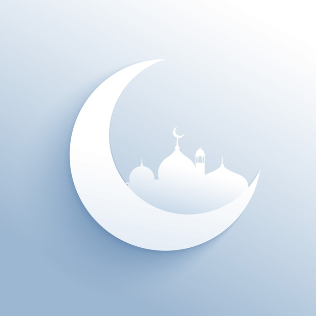 Moon with mosque silhouette for islamic\ festival