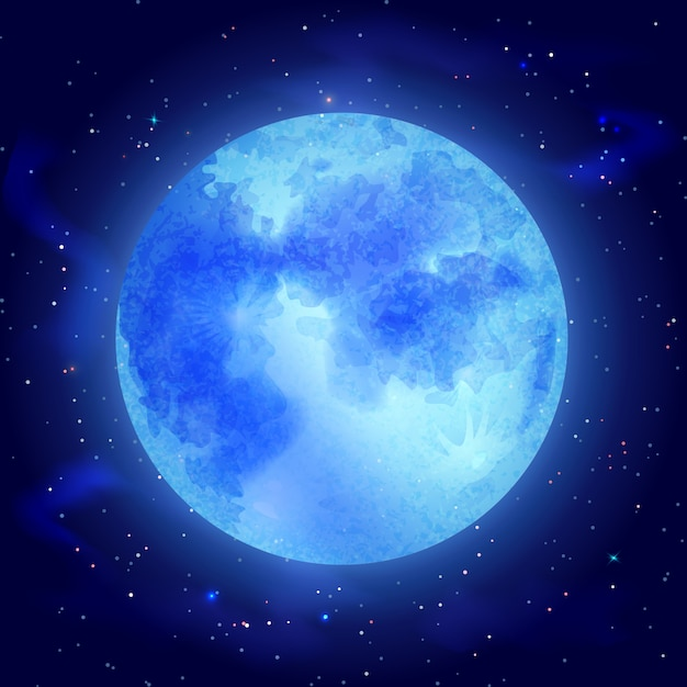 Moon with stars Free Vector