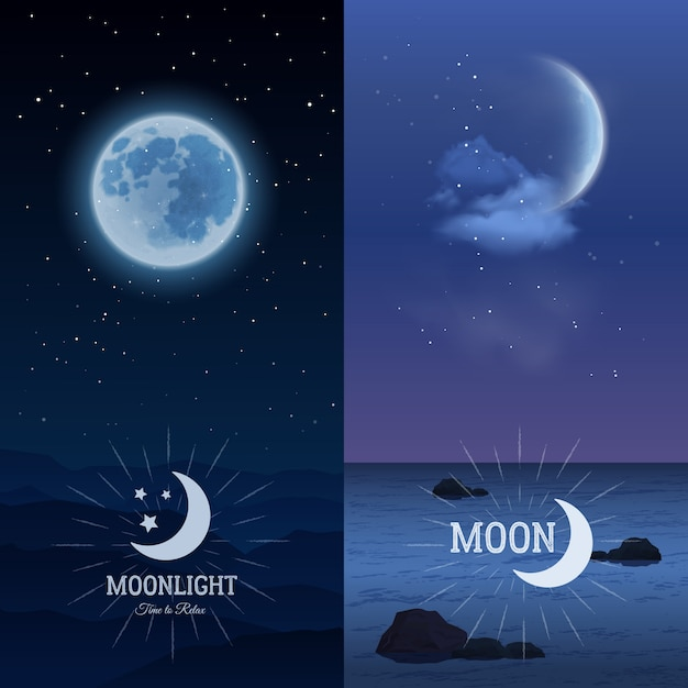 Moonlight banners vertical set Free Vector
