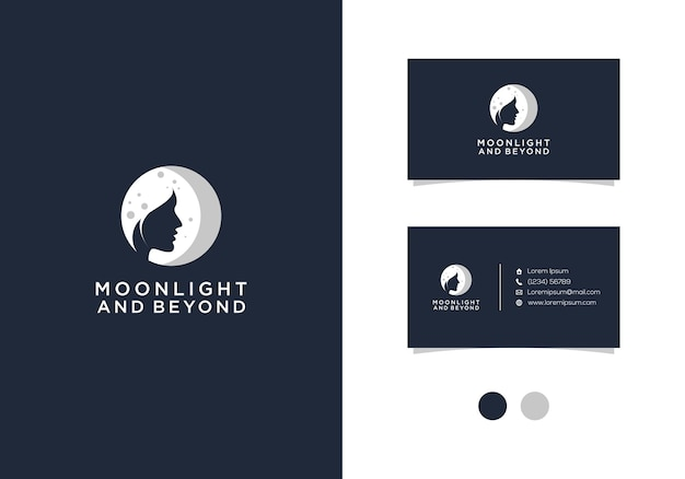 Moonlight and beyond  logo design with business card Premium Vector
