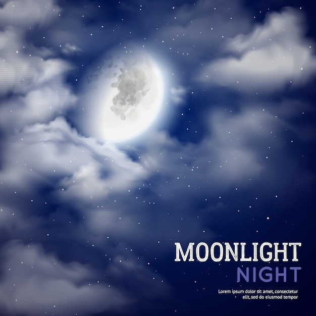 Moonlight night poster with moon and clouds on\ dark sky background