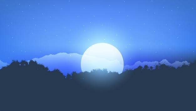 Moonlight tree landscape Free Vector