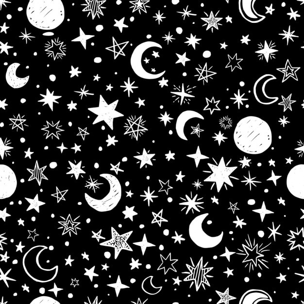 moons and stars black and white background vector free