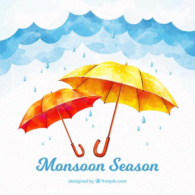 Moonson season background with rain Free Vector