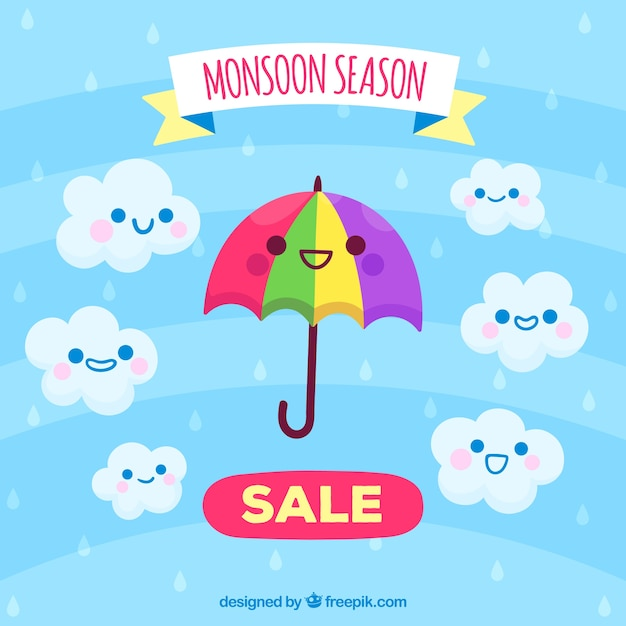 Moonson season sale background with\ cartoons