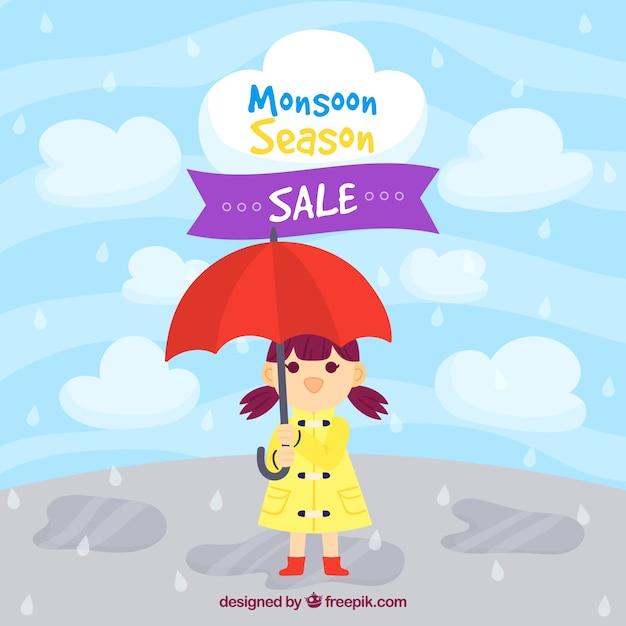 Moonson season sale background with rain