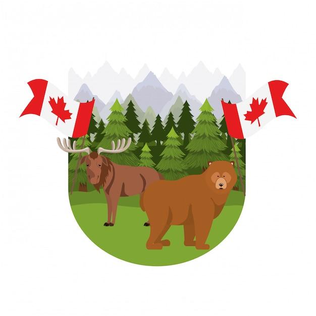 カナダのアメリカヘラジカとクマの動物 無料ベクター