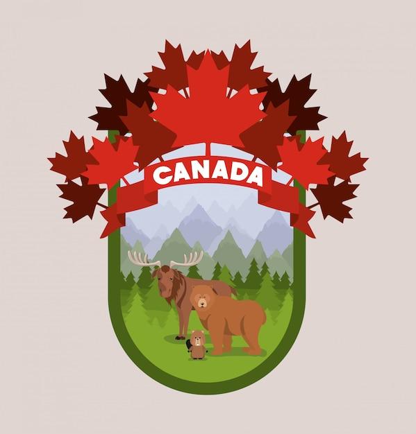Moose bear and beaver animal Free Vector