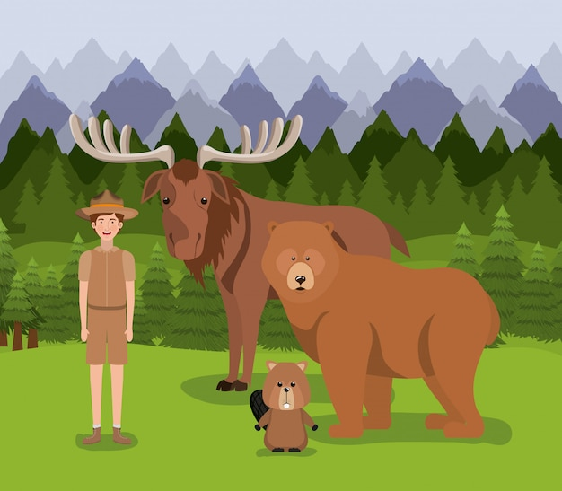 Moose bear beaver and ranger Free Vector