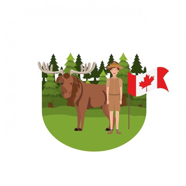 Animale della foresta delle alci del canada Vettore gratuito