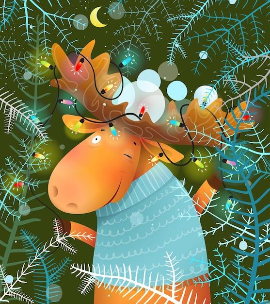 Лось или лось празднуют рождественскую ночь с гирляндами Premium векторы