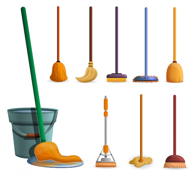 Mop icon set. cartoon set of mop vector icons for web design Premium Vector