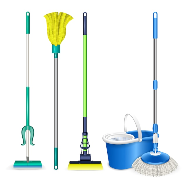 Mop icons set. realistic set of mop vector icons isolated Premium Vector