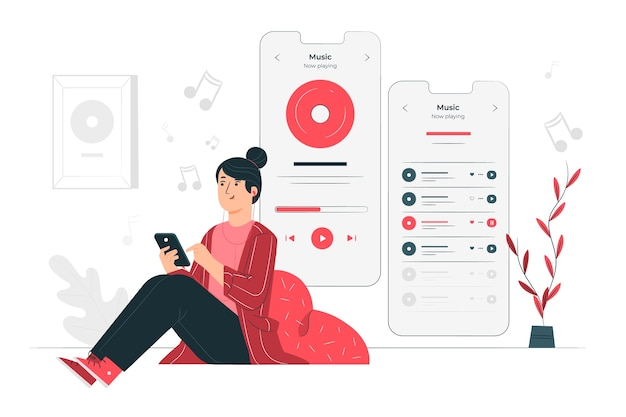 More music concept illustration Free Vector